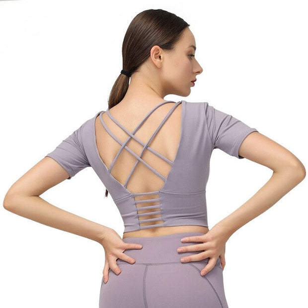 Cross Straps Backless Yoga T-Shirt