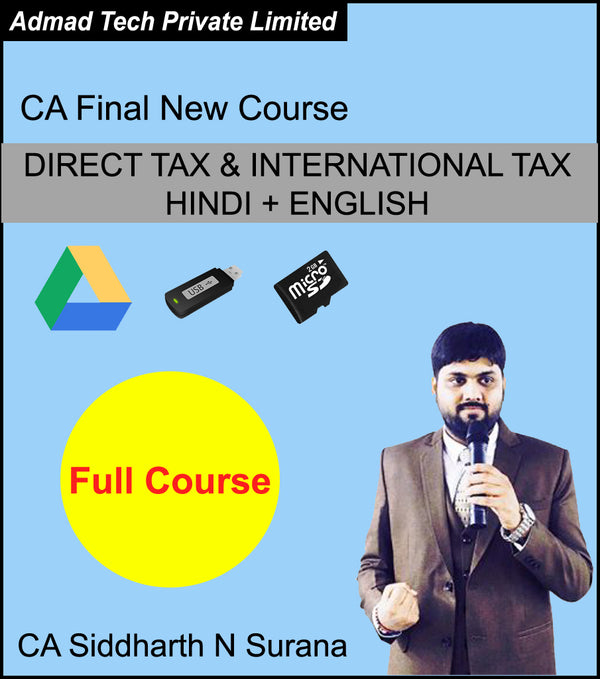 CA Final NEW Course DIRECT TAX & INTERNATIONAL TAX HINDI + ENGLISH Full Course by CA Siddharth N Surana