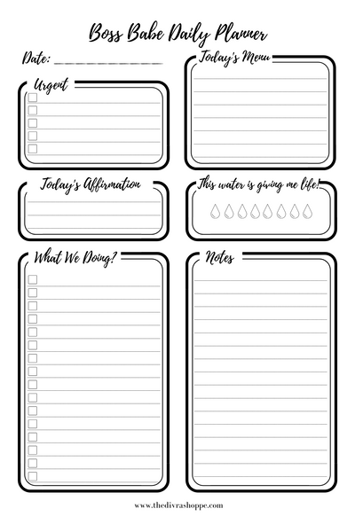 Daily Planner Sticky Pad, 50 Undated Sheets, Desk Accessory Pad, Motivational Daily Notebook, To Do List, Meal Planner, Water Tracker, Daily Affirmation, Boss Babe Daily Planner