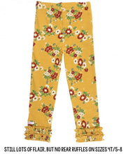 Load image into Gallery viewer, Golden Gardenias Ruffle Leggings
