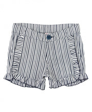 Load image into Gallery viewer, Navy Stripe Ruffle Trim Shorts
