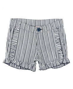 Navy Stripe Ruffle Trim Shorts