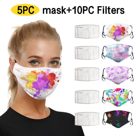 5 pieces Face Masks with 10 filters