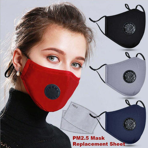 N95 Respirator Mask With Breathing Valve Washable Cotton Activated Carbon Filter PM2.5