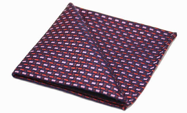 Cassian Red Pink Woven Silk Pocket Square Father's Day Gift Ideas