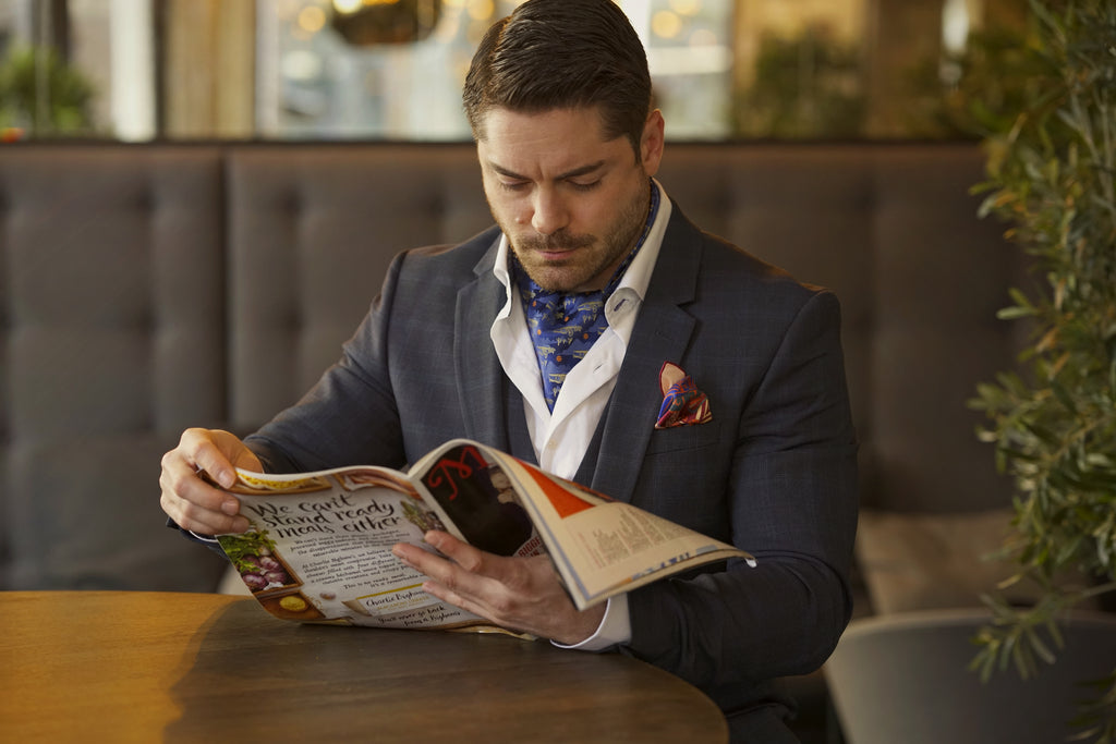 Cravat Club model reading magazine lockdown learn a new skill