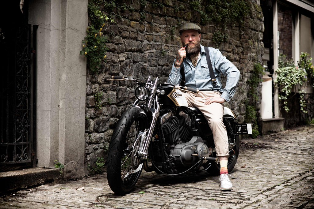 Cravat Club Father's Day Gift Ideas For Men Bearded Gentleman on Harley Davidson Motorbike