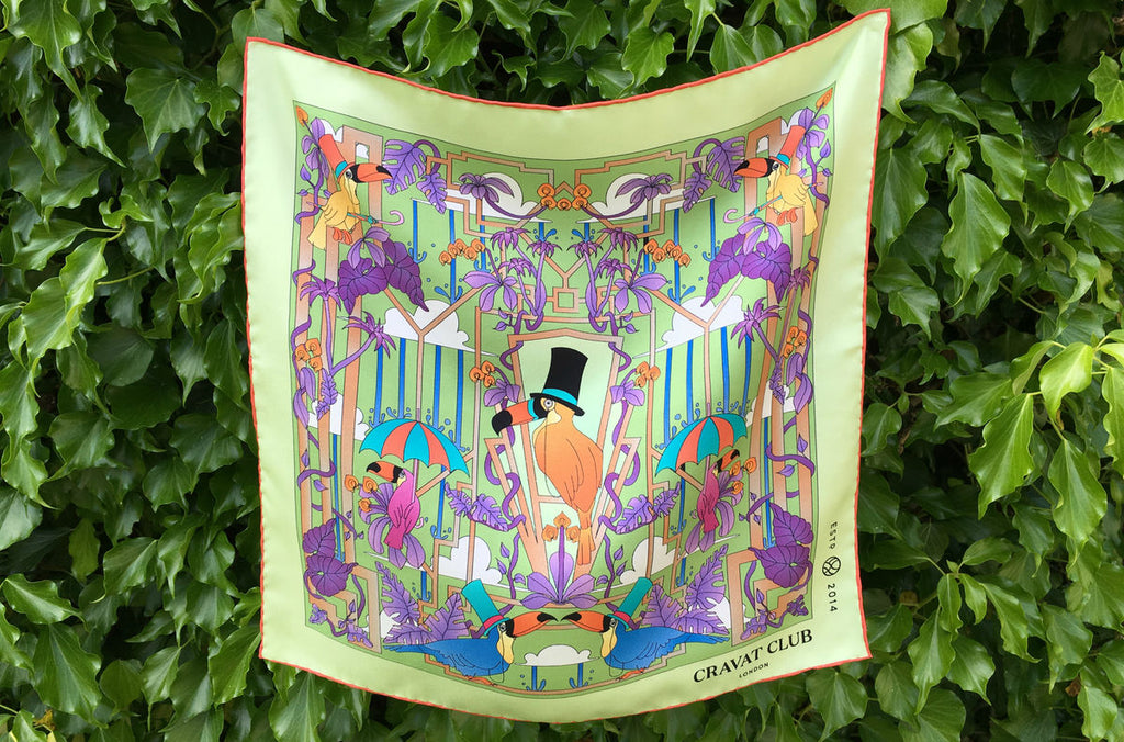 Deco Island Day Green Toucan Tropical Pocket Square
