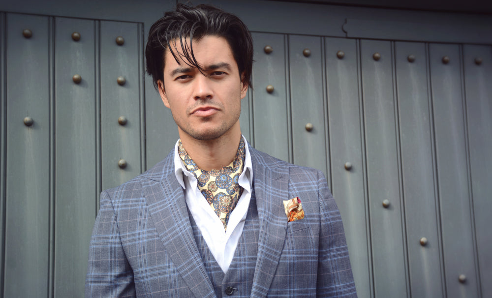 Guang Oriental Pattern Printed Silk Cravat with Deco Island Sunrise Pocket Square
