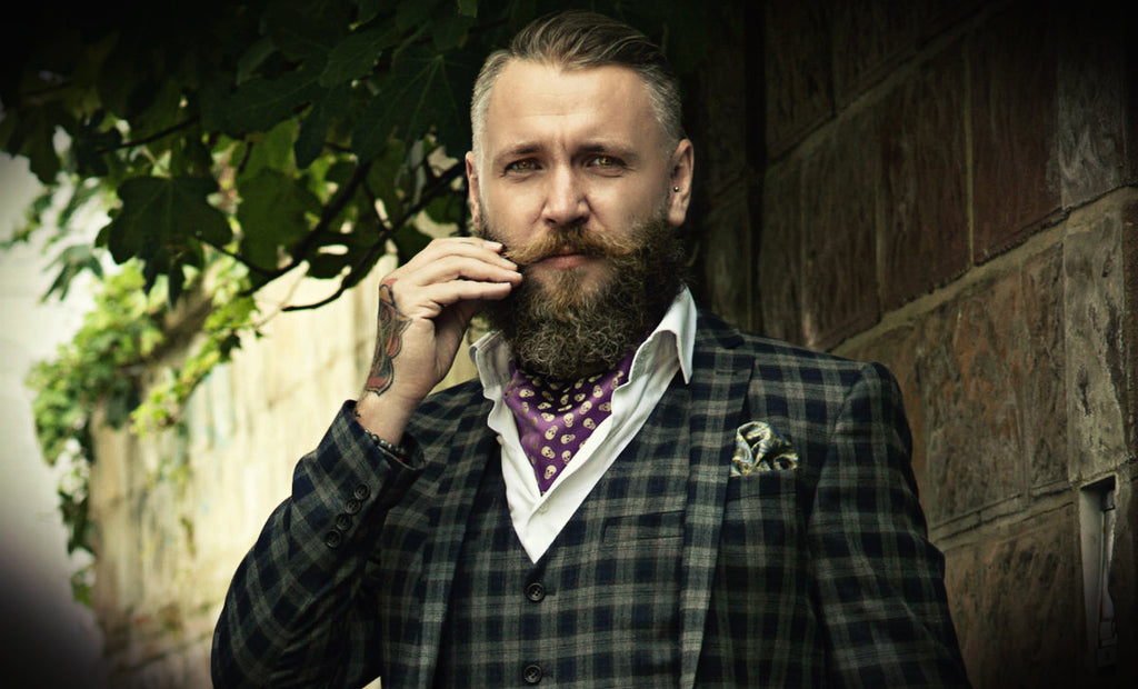 Cravat Club Halloween Skulls Silk Cravat Ascot Tie Beard Tattoos