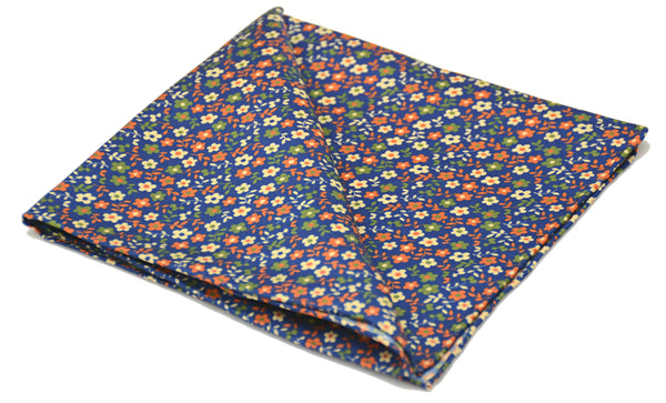 Myall Blue Floral Printed Silk Pocket Square Father's Day Gift Ideas For Him