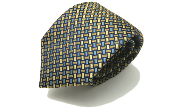 Noah Blue Yellow Geometric Woven Silk Tie Father's Day Gift Ideas