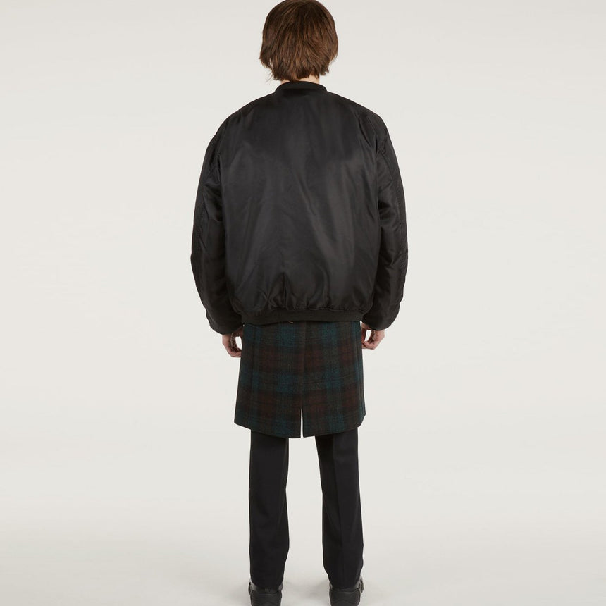 Raf Simons Nylon Patched Bomber With Wool Elongation Dark Brown / Dark Green