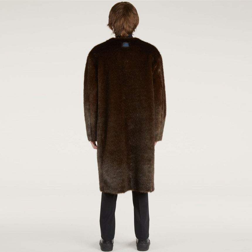 Raf Simons Nylon Labo Coat With Fake Fur Lining White / Dark brown