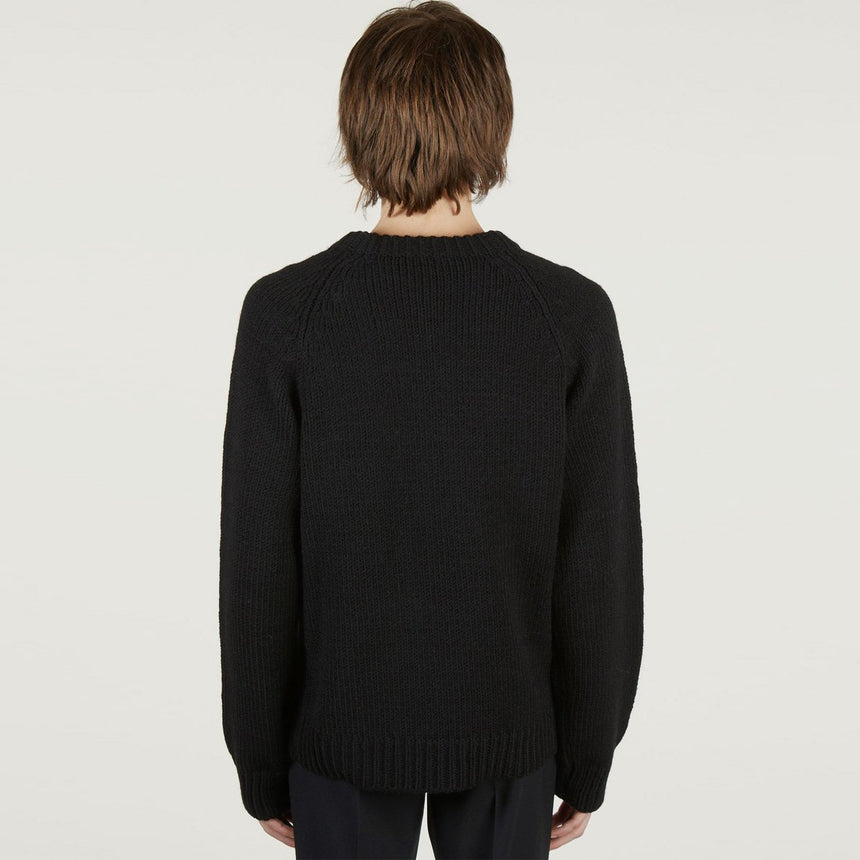 Raf Simons Raglan Sweater With Letter Badge And Zipper Black