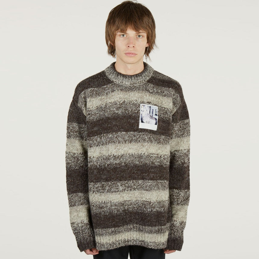 Raf Simons Striped Roundneck Sweater With Polaroids Dark Brown / White