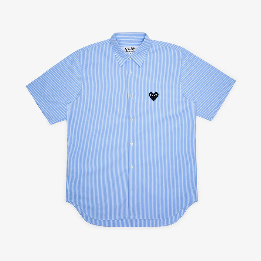 Comme des Garcons Play W Striped Short Sleeve Shirt Blue