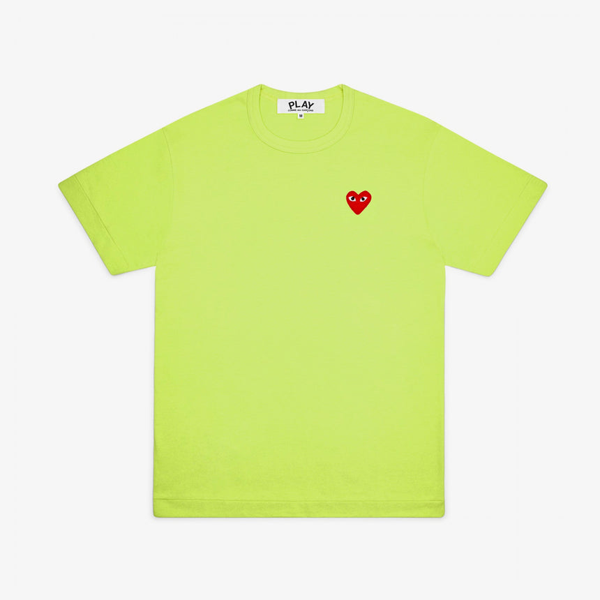 Comme des Garcons Play W Bright Red Heart T-Shirt Green