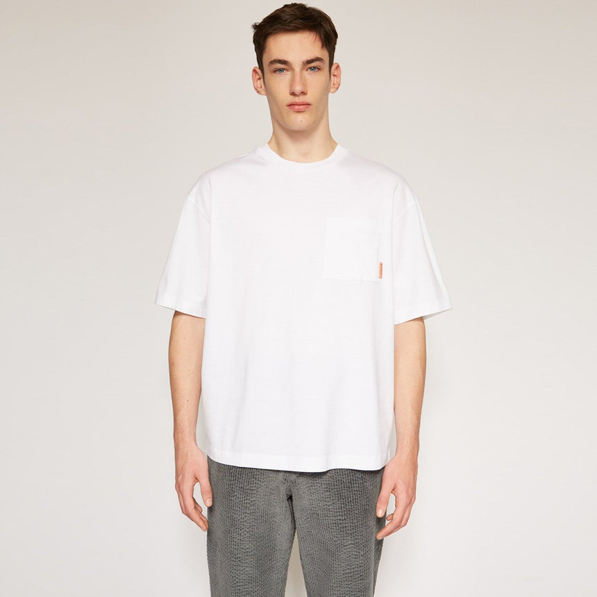 Acne Studios Extorr Pocket Pink Label T-shirts Optic White