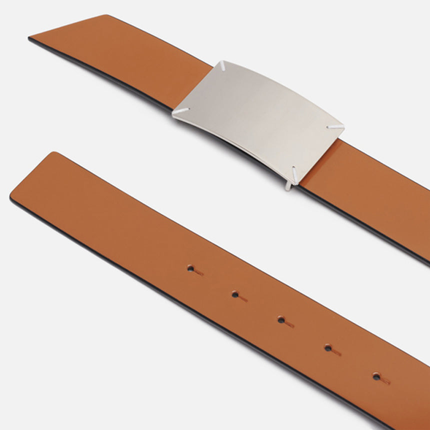Maison Margiela Label Belt Black / Cuoio
