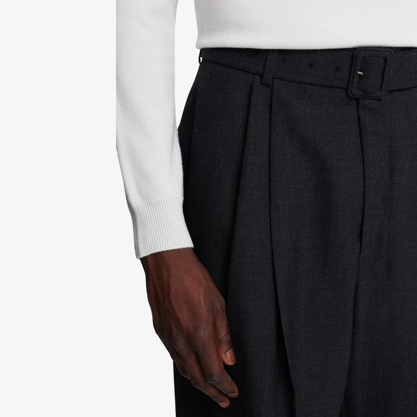 Dries Van Noten Phoenix Pleated Wool Pant Navy