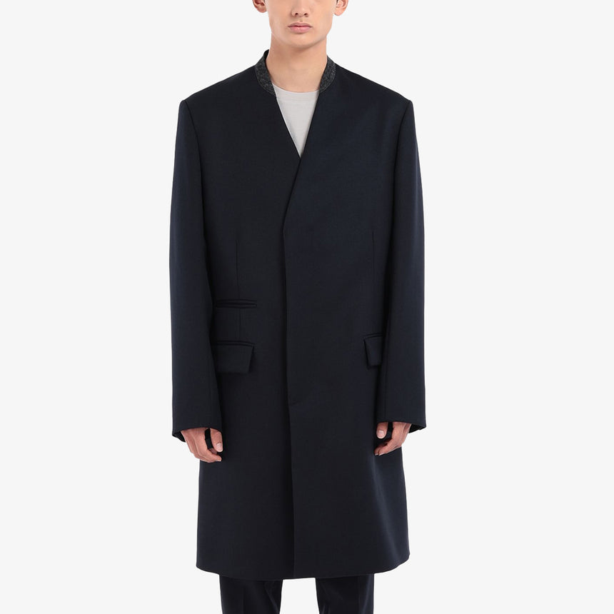 Maison Margiela Collarless Coat Dark Blue