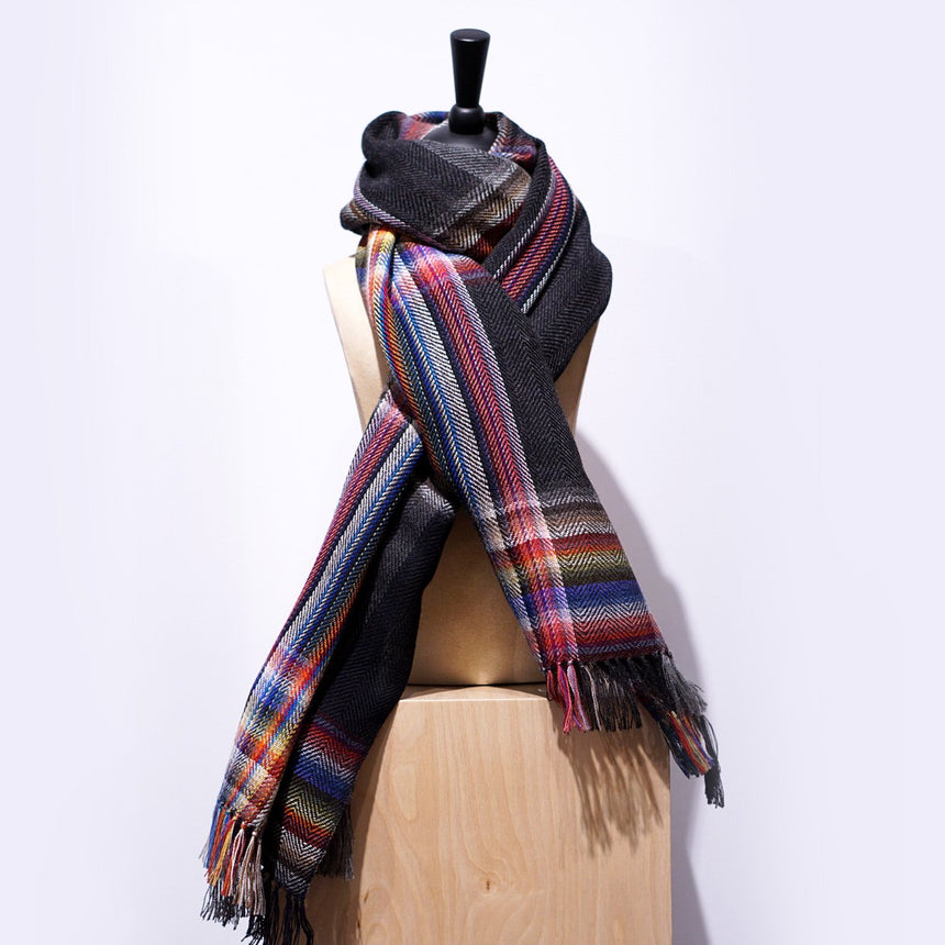 The Inoue Brothers Multi Coloured Scarf Black 85X200CM