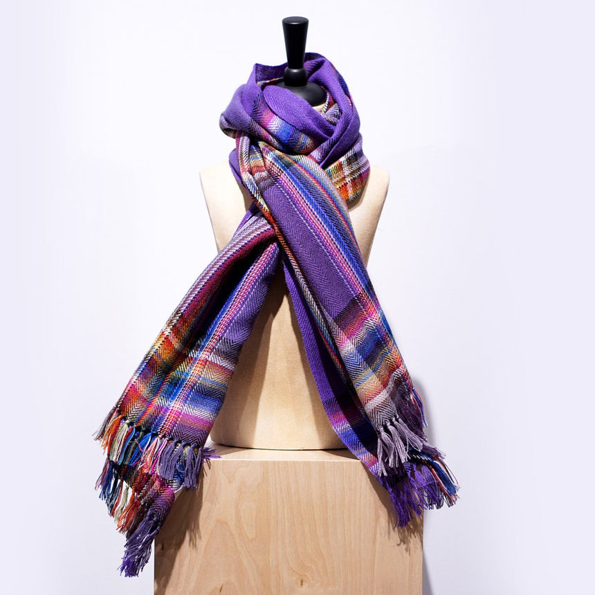The Inoue Brothers Multi Coloured Scarf Purple 85X200CM