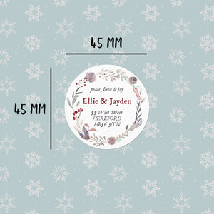 Autumn Wreath | 20 Round Address Labels Christmas Address Labels Sweet Backflip
