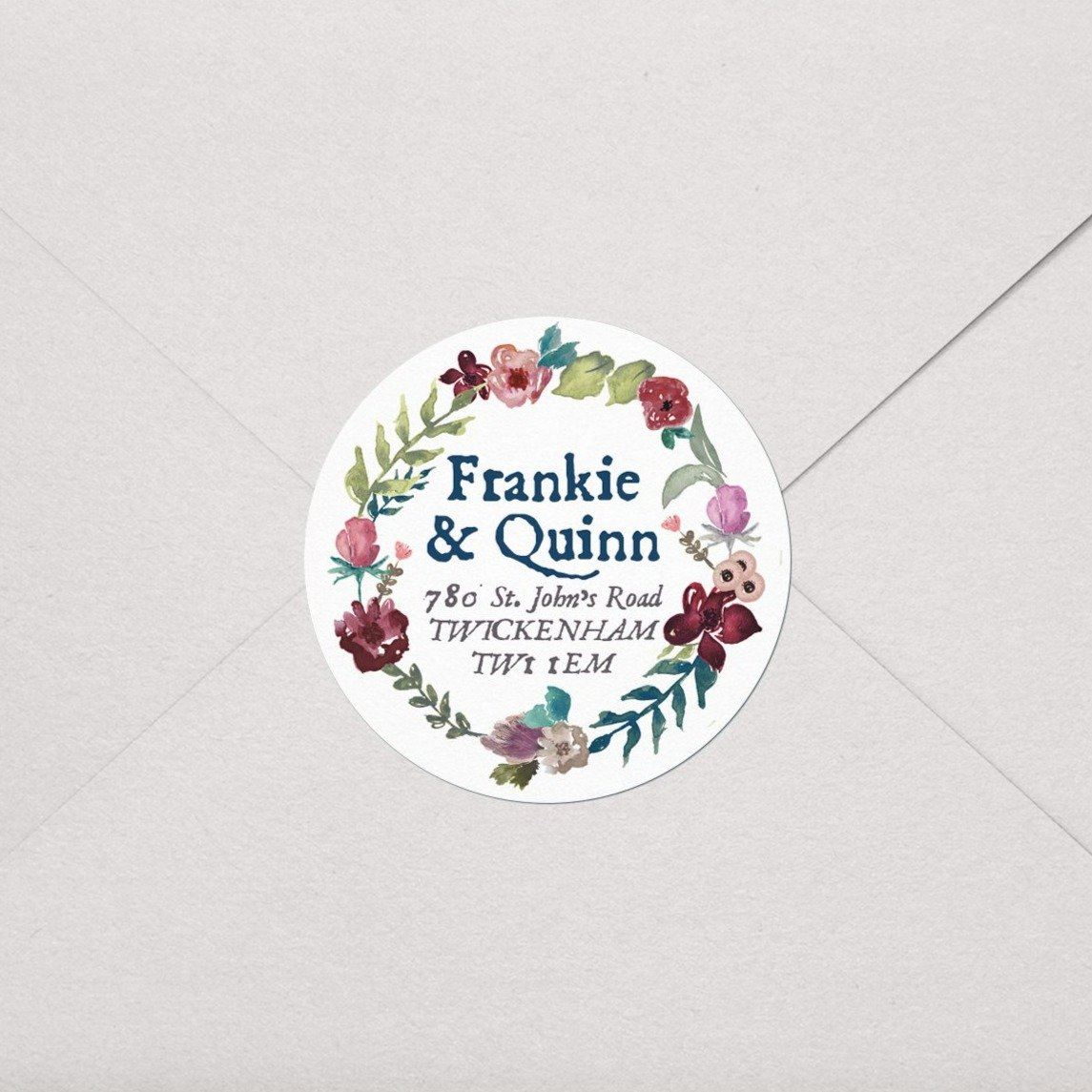 Burgundy & Teal Floral Wreath Labels