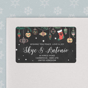Chalkboard Ornaments Christmas Address Labels