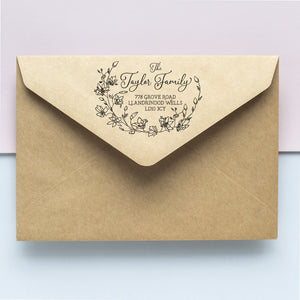 Delicate Floral Wreath Address Stamp Address Stamp Sweet Backflip