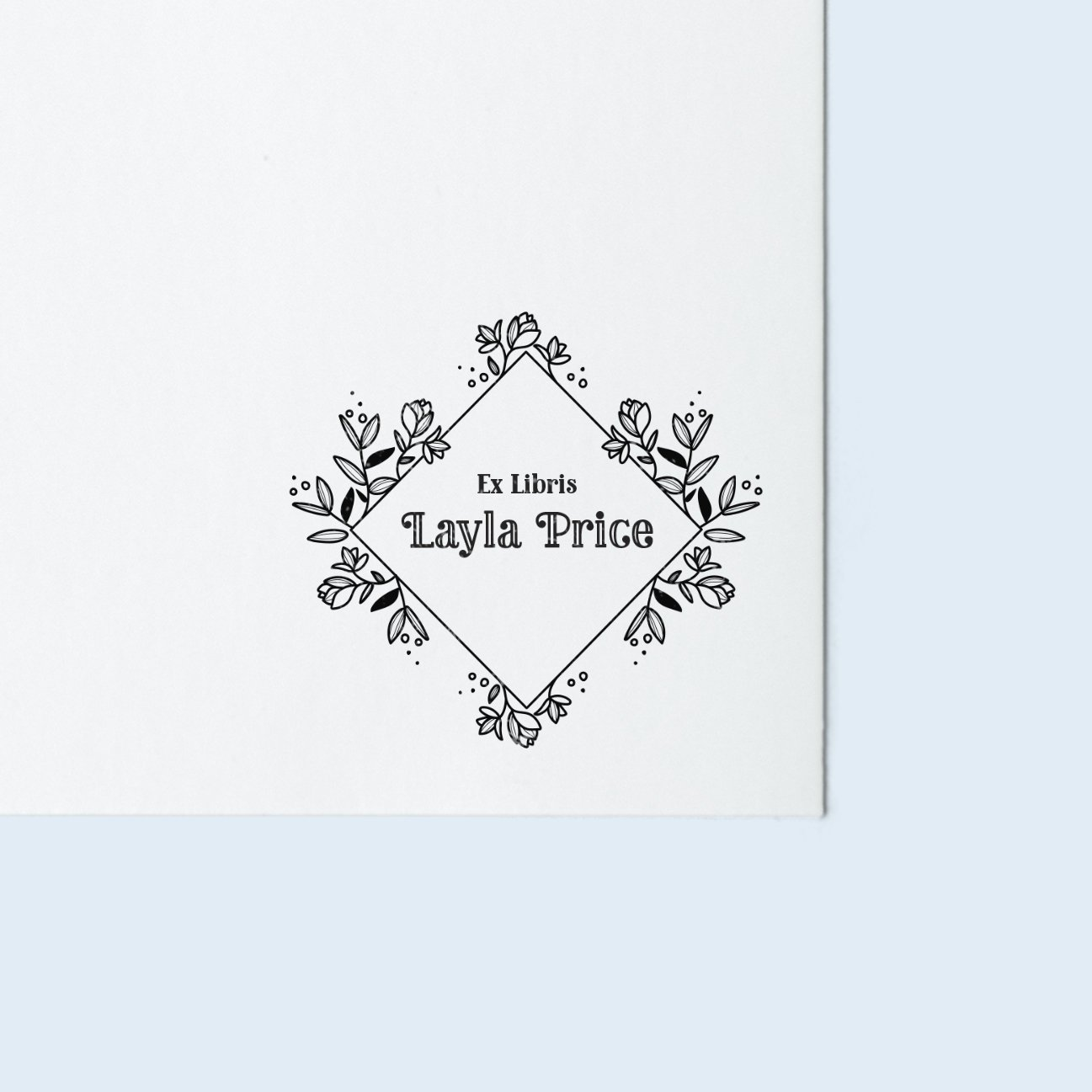 Floral Border Book Stamp