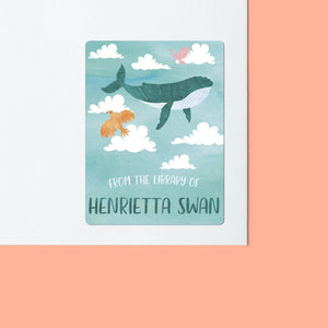 Flying Whale Bookplate Stickers Bookplate Sweet Backflip