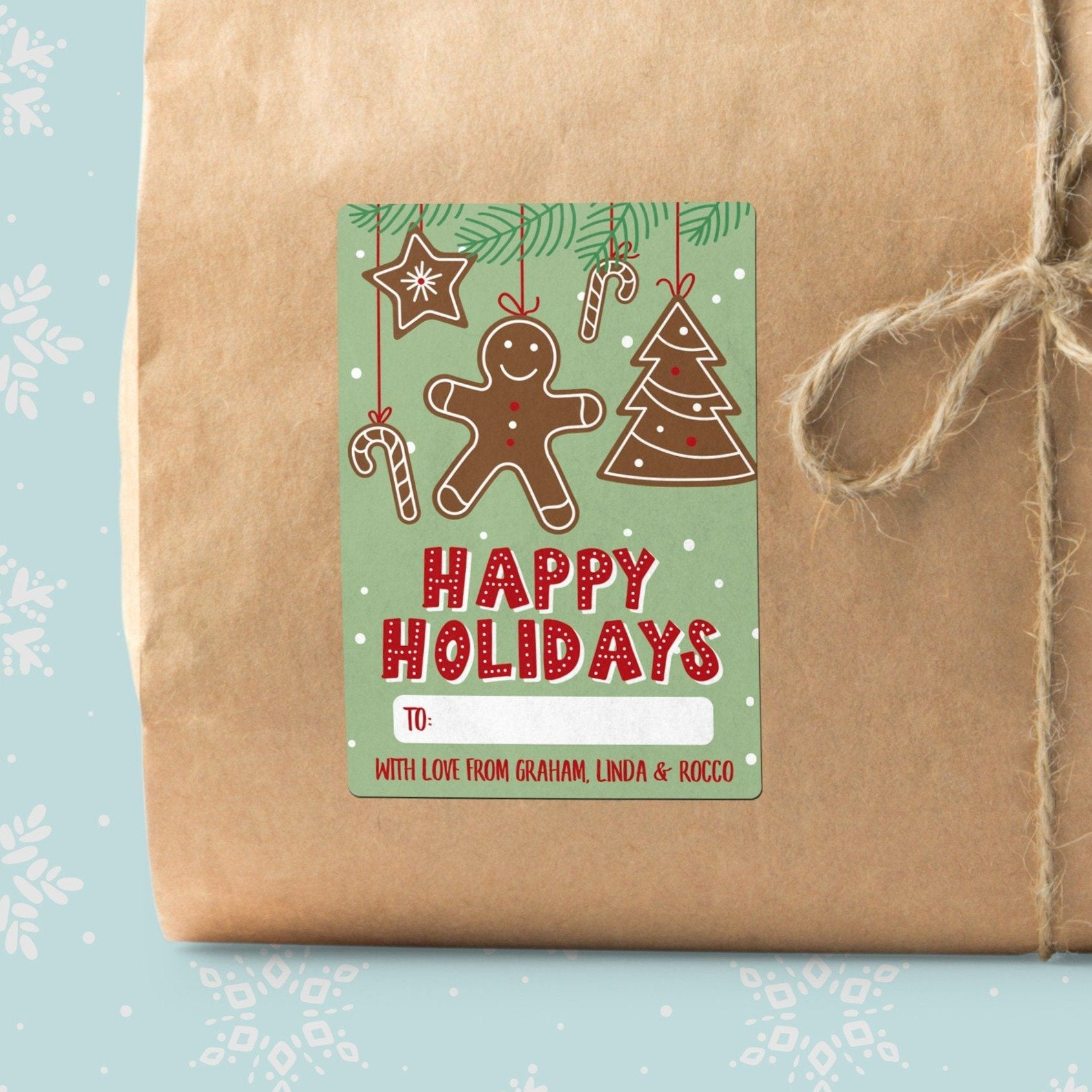 Gingerbread Ornaments Christmas Gift Labels