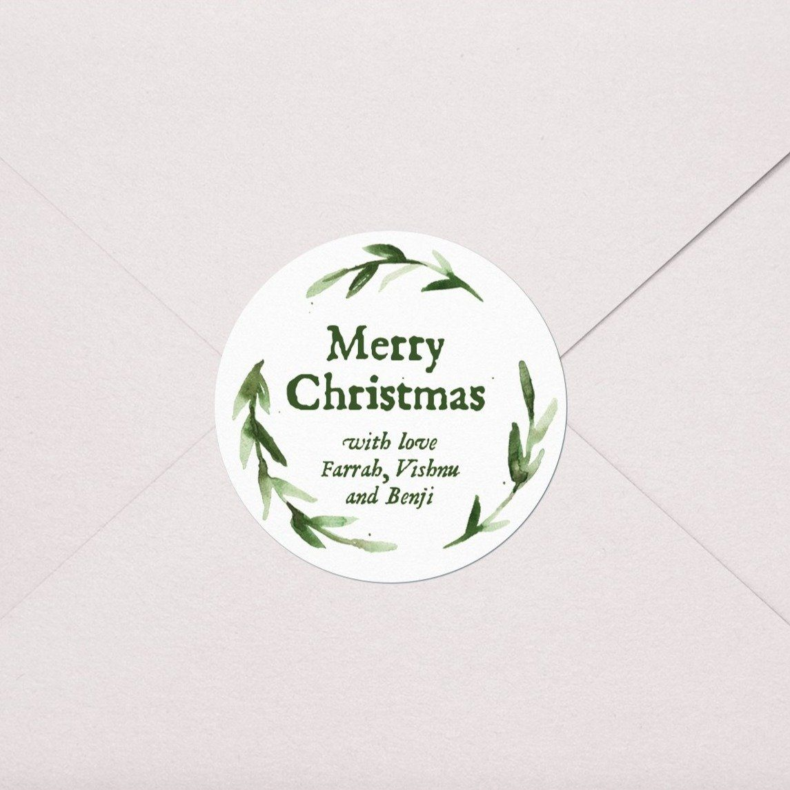 Greenery Wreath Gift Labels