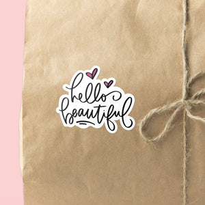 Hello Beautiful | 15 Die-Cut Happy Mail Stickers Happy Mail Stickers Sweet Backflip