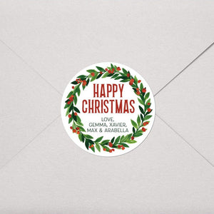 Holly Wreath Christmas | Round Gift Tags Return Address Labels Sweet Backflip