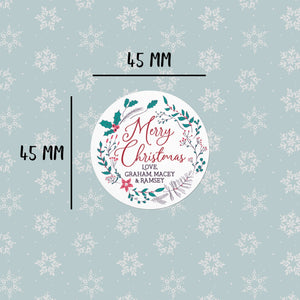 Illustrated Wreath | 20 Round Gift Tags Return Address Labels Sweet Backflip