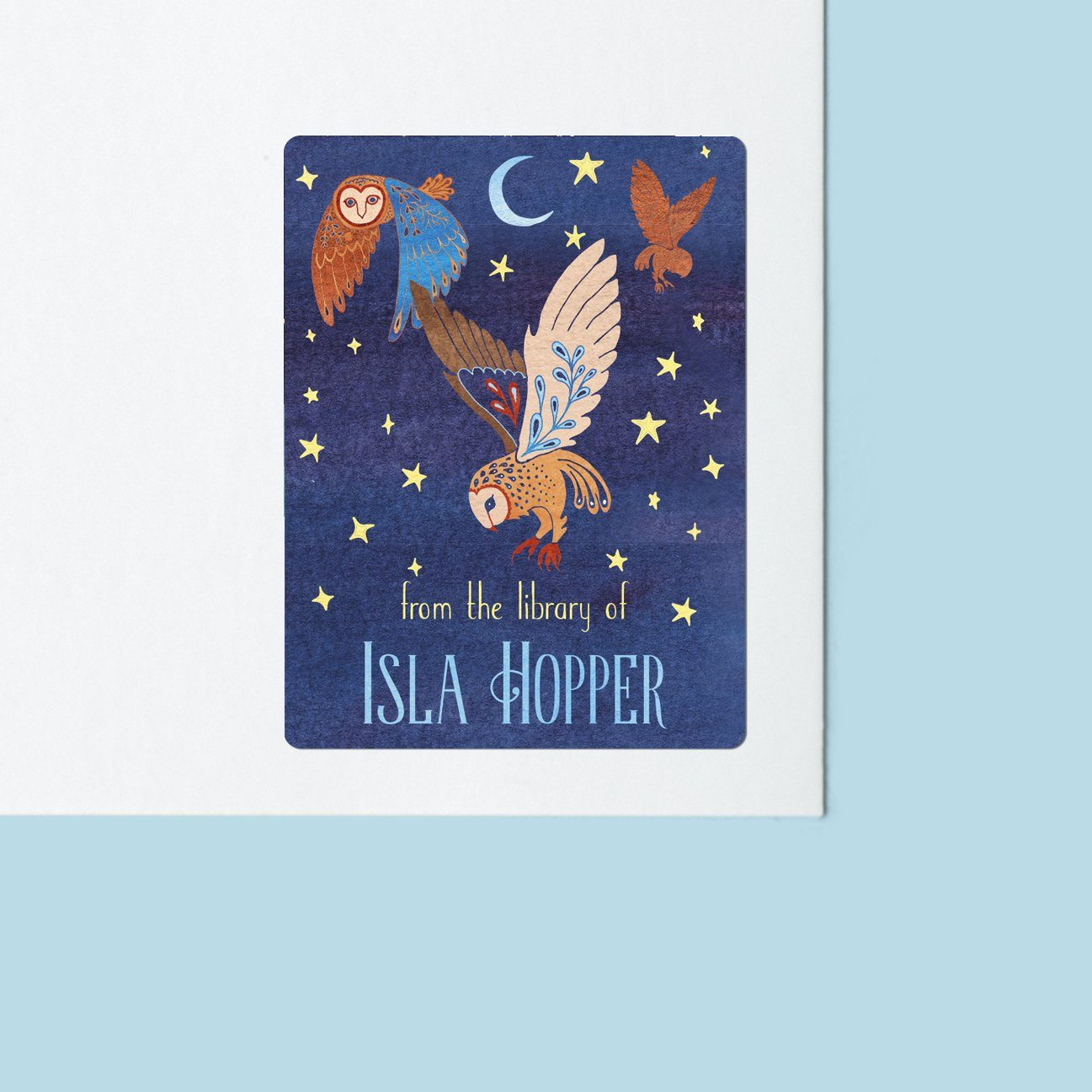 Magical Owls at Night Bookplate Stickers Bookplate Sweet Backflip