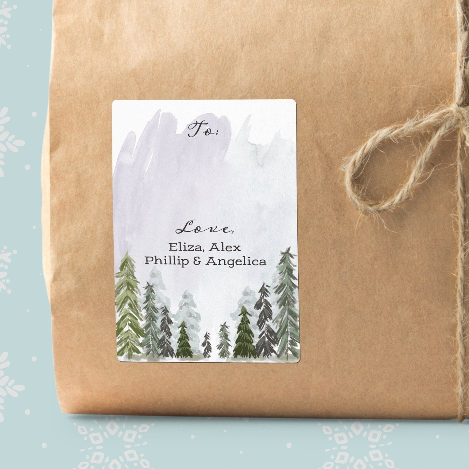 Misty Pine Trees Gift Labels