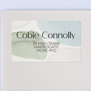 Neutral Blue & Green Watercolour Address Labels