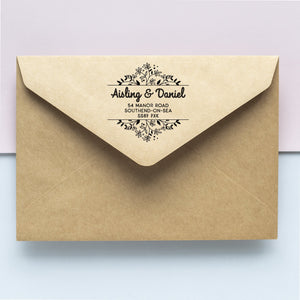 Open Floral Border Address Stamp
