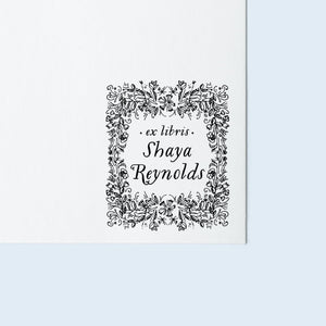 Ornate Botanical Frame Book Stamp