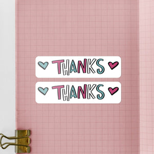 Pink & Blue Love Heart 'Thanks' | 20 Die-Cut Happy Mail Stickers Happy Mail Stickers Sweet Backflip