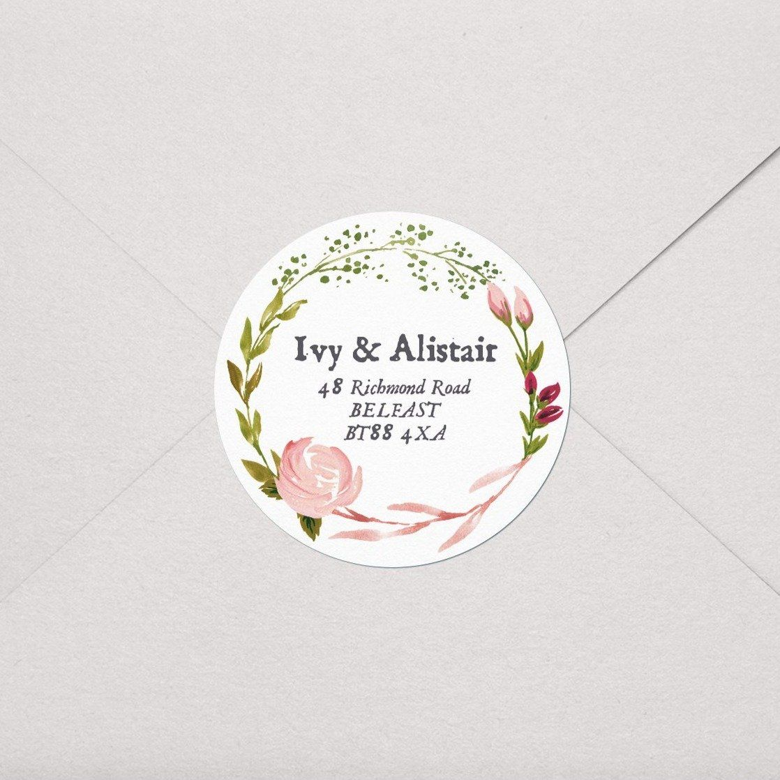 Pink Rose Watercolour Labels
