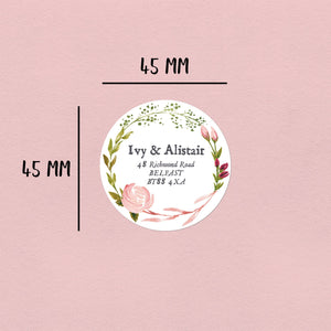 Pink Rose Watercolour | 20 Round Address Labels Return Address Labels Sweet Backflip
