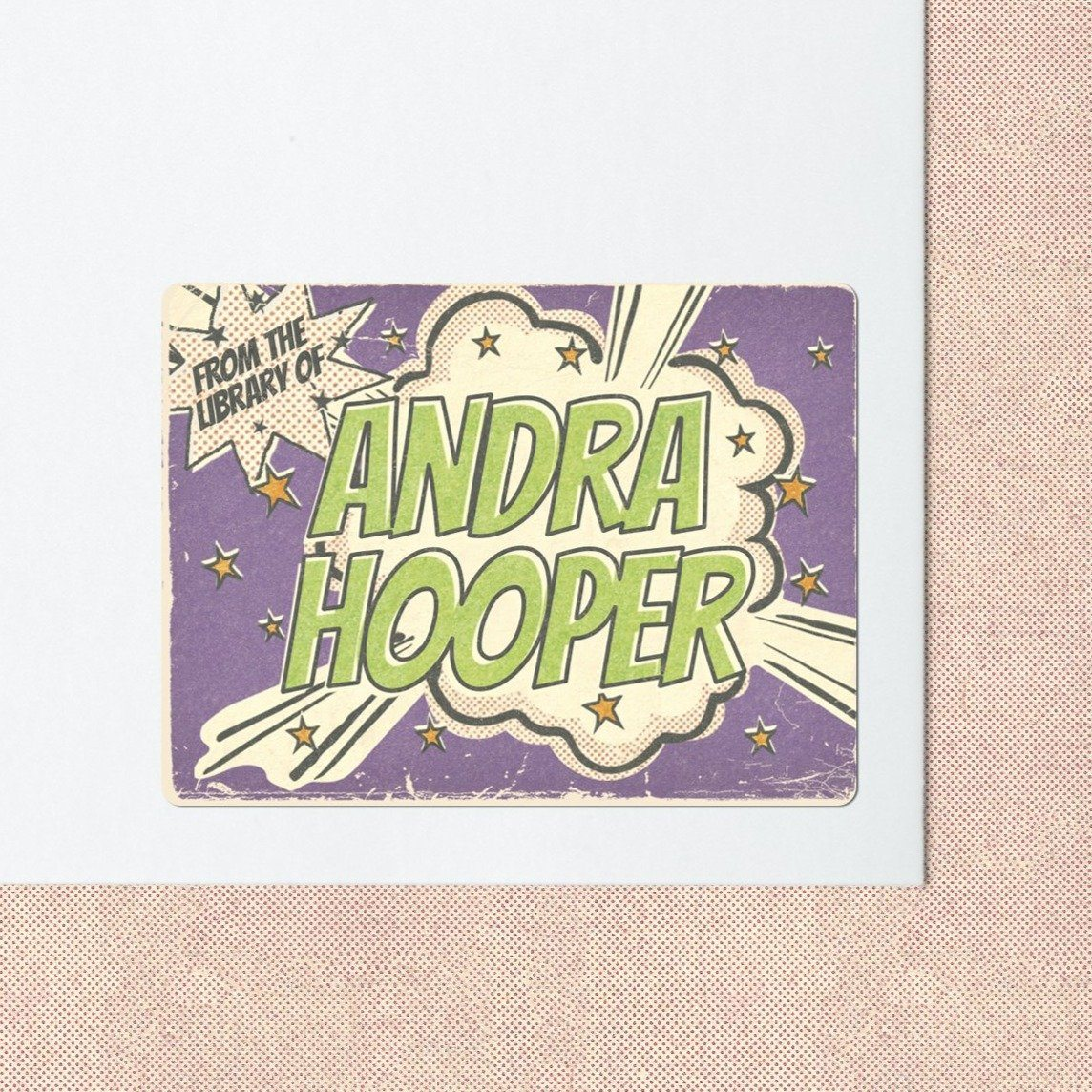 Purple Comic Bookplate Stickers Bookplate Sweet Backflip