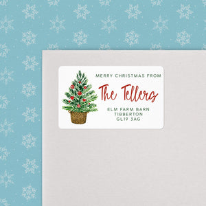 Tree in Basket Christmas Address Labels