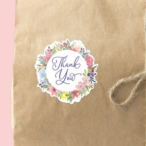 Wildflower Wreath Thank You Stickers | 12 Die-Cut Happy Mail Stickers Happy Mail Stickers Sweet Backflip